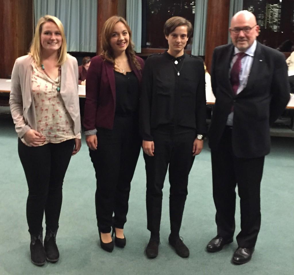GAFF-Preisträger 2017 v.l.n.r. Madelaine Louise Hahn, Maria Ries, Jessica Katharina Lust, der Vorsitzende der GAFF Prof. Dr. August Heuser